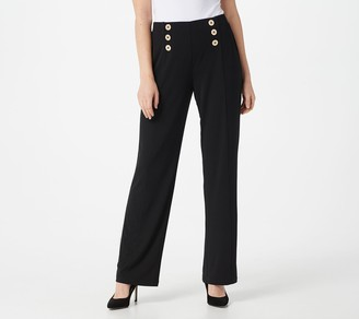Susan Graver Regular Liquid Knit Pull-On Pants w/ Button Trim