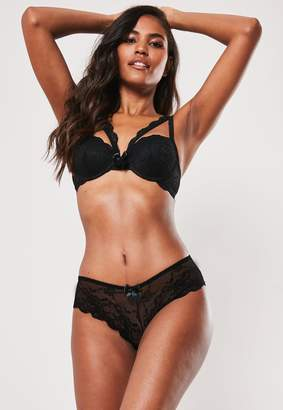 Missguided Black Lace Harness Bra And Knicker Set
