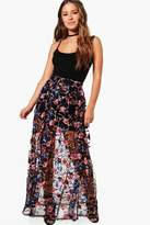 boohoo Petite Felicity Embroidered Full Maxi Skirt black