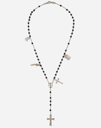 Dolce & Gabbana Tradition Rosary Necklace In White Gold With Black Jades Beads