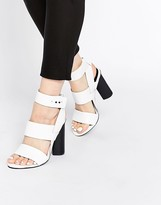 Senso Xander White Leather Block Heeled Ankle Strap Sandals