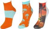 Ecko Unlimited Women's Tropical Print Low Cut Socks Pack of 3 Pair