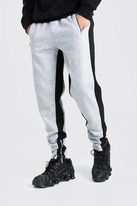 boohoo Mens Grey Skinny Fit Jogger Wide Side Stripe And Zip, Grey