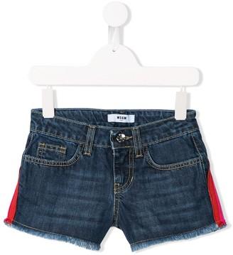 Msgm Kids Logo Stripe Denim Shorts