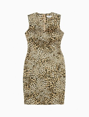Calvin Klein Printed V-Neck Sleeveless Sheath Dress