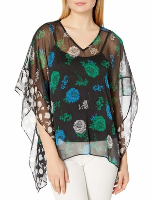 Vince Camuto Women's Floral Lagoon V-Neck Poncho Blouse