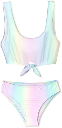 Stella Cove Girl's Tie-Front Rainbow Two-Piece Bikini Set, Size 8-14