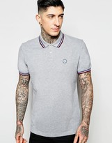 Pretty Green Polo with Contrast Tipping in Gray