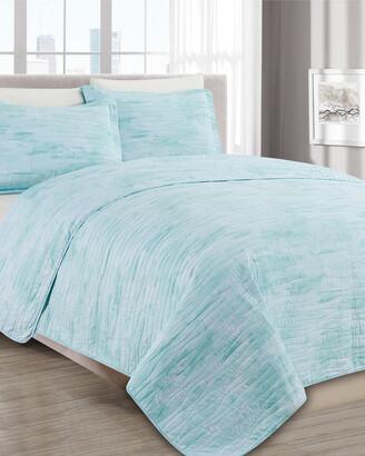 Melange Home Barbarian Sleepy Texture Quilt Set Turquoise