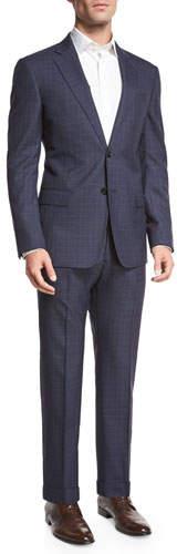 Armani Collezioni Textured Windowpane Check Two-Piece Suit, Navy