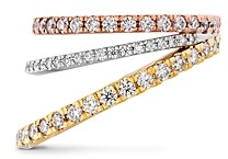 Hayley Paige for Hearts on Fire Platinum, 18K Rose & Yellow Gold Diamond Bring The Drama Power Band with Pink Sapphire