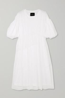 Simone Rocha Gathered Tulle And Cotton-jersey Midi Dress - White