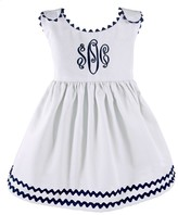 The Well Appointed House Girl's Pique Dress in White with Navy Trim-Can Be Personalized