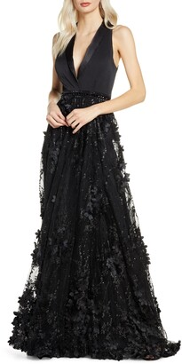 Mac Duggal Tuxedo Lapel Floral Embellished Gown