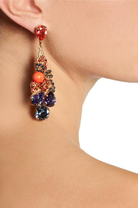 Swarovski Bijoux Heart Fruit de Mer gold-plated crystal earrings
