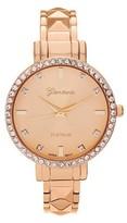 Geneva Platinum Women's Round Face Rhinestone Accent Adjustable Cuff Watch - Rose Gold