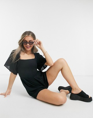 Influence shirred bust playsuit in black