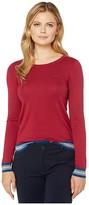 Lacoste Long Sleeve Crew Neck Semi Fancy Cotton Silk Jersey Sweater (Bordeaux) Women's Clothing
