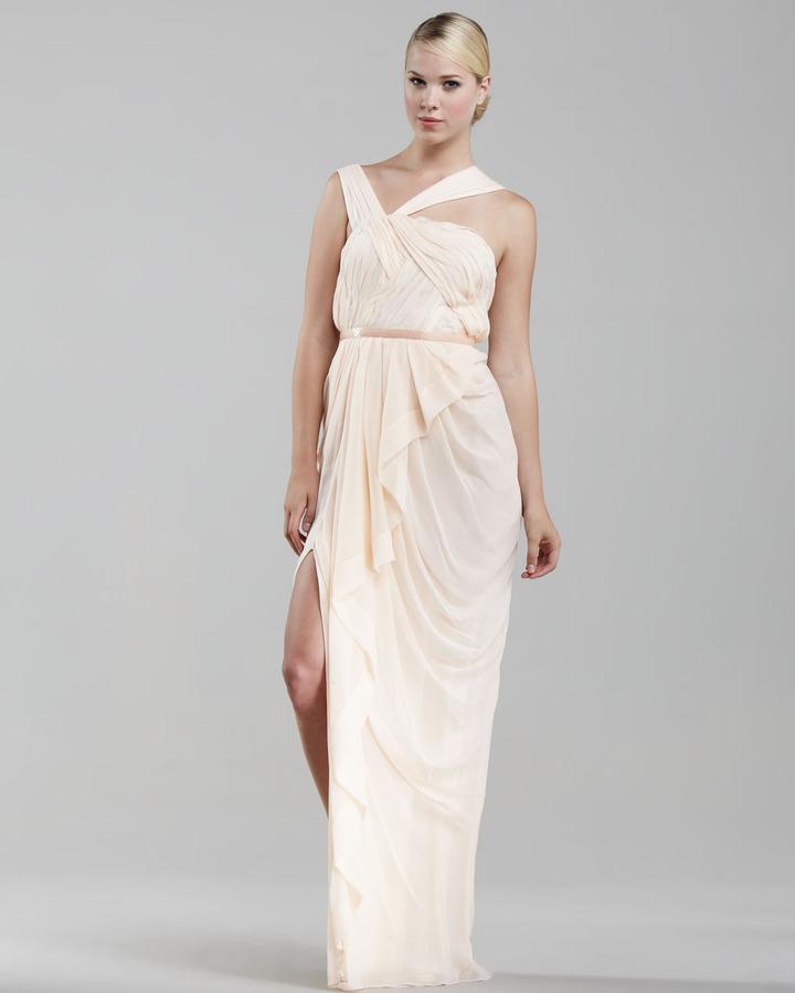 J. Mendel Asymmetric Chiffon Gown, Sheer Peach