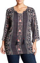 Angie Split V-Neck Printed Tunic (Plus Size)