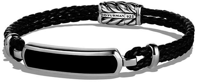 David Yurman Exotic Stone Station Black Leather Bracelet with Black Onyx