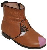 Pépé Face Printed Leather Ankle Boots