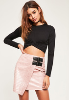 Missguided Black Twist Front Long Sleeved Crop Top