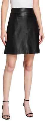 Akris Punto Napa Leather A-Line Skirt