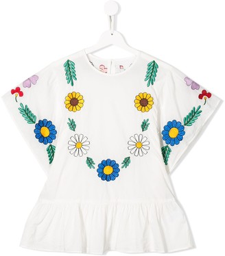 Stella Mccartney Kids TEEN floral-embroidered blouse