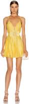 RAISA&VANESSA Strass Embellished V Neck Mini Dress in Yellow | FWRD