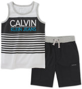 Calvin Klein 2-Pc. Graphic-Print Tank & Shorts Set, Baby Boys (0-24 months)