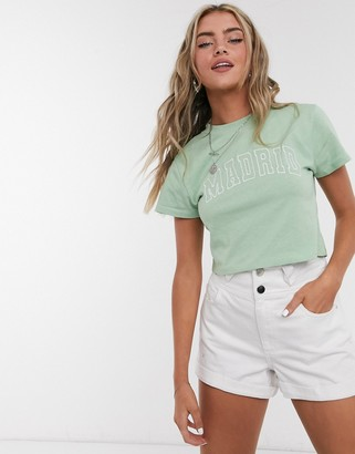 Topshop Madrid cropped t-shirt in green