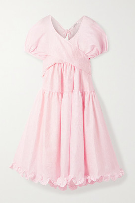 Cecilie Bahnsen Ammi Open-back Tiered Ruffled Cloque Midi Dress - Pastel pink