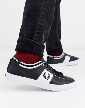 Fred Perry Underspin tipped cuff leather sneakers in black