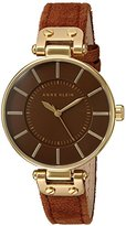 Anne Klein Women's AK/2218GPRU Gold-Tone and Rust Colored Suede Strap Watch