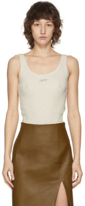 Off-White Beige Ribbed Tank Top