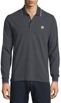Moncler Tipped Long-Sleeve Polo Shirt, Charcoal