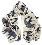 Black Elephant Print Silk and Merino Wool Scarf