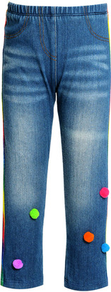 Hannah Banana Girl's Side Striped Denim Leggings w/ Pompoms, Size 2-4