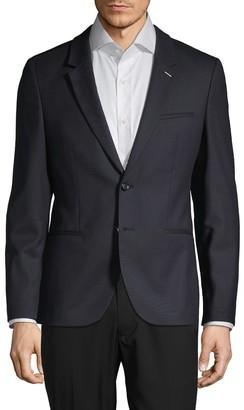 HUGO Notch Lapel Wool-Blend & Faux Leather Sportcoat