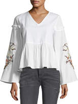 Glamorous Embroidered Bell-Sleeve Blouse