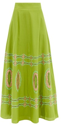 Le Sirenuse, Positano - Camille Bubble Gum Cotton Maxi Skirt - Green Multi