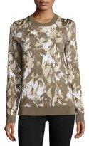 Jason Wu Long-Sleeve Printed Pullover, Army/Beige/Chalk