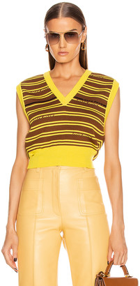 Miu Miu Striped Knit Top in Tobacco | FWRD