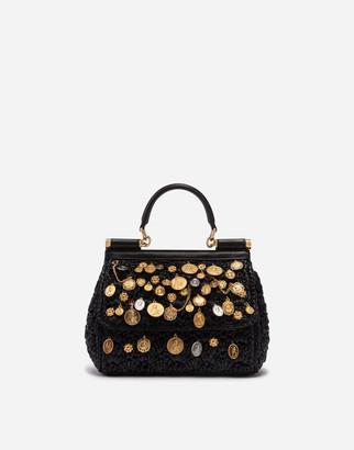 Dolce & Gabbana Small Sicily Bag In Raffia Crochet With Applications