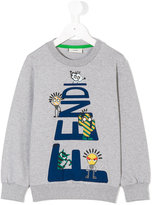 Fendi logo front sweatshirt - kids - Cotton/Spandex/Elastane - 4 yrs
