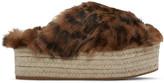 Miu Miu Brown Leopard Fur Cross Sandals