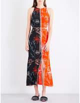 Diane von Furstenberg Ladies Printed Floral-Print Contrast-Panel Silk-Crepe De Chine Maxi Dress