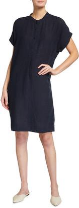 Eileen Fisher Puckered Organic Linen Short-Sleeve Shirtdress