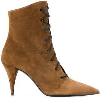 Saint Laurent lace-up suede ankle boots